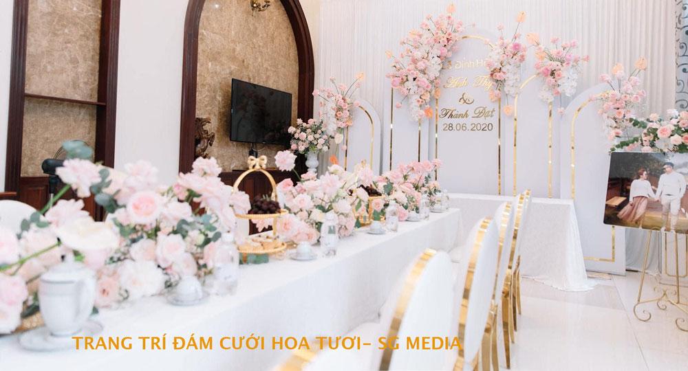 trang trí đám cưới tông màu hồng phấn